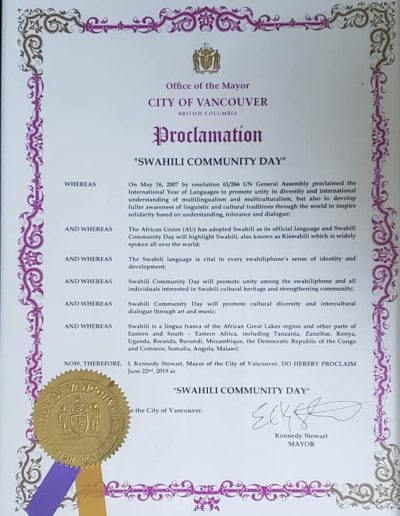 Swahili Day Proclamation 2019