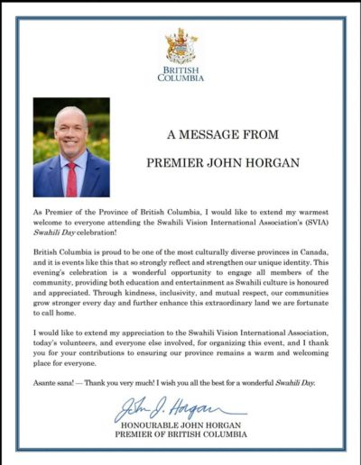 Letter from Premier Horgan
