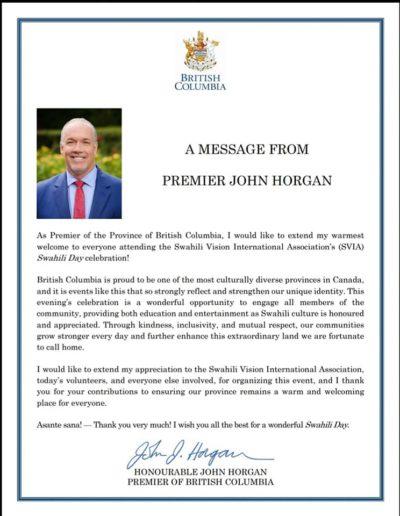 Letter from Premier Horgan