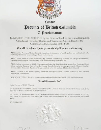 Swahili Day Proclamation 2020